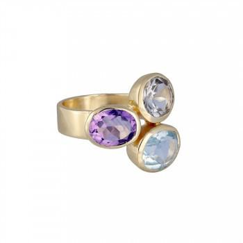 Ring 3 Steine pastell, vergoldet