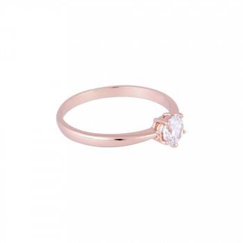 Zarter Ring mit Kristall, rosé vergoldet