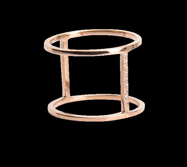 Rosé Ring mit Steg und Kristallen