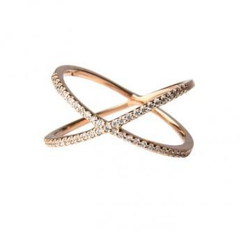 Überkreuzter Ring, rosé vergoldet