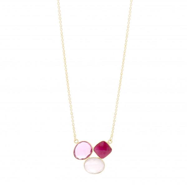 Kette m. 3 Steinen pink G