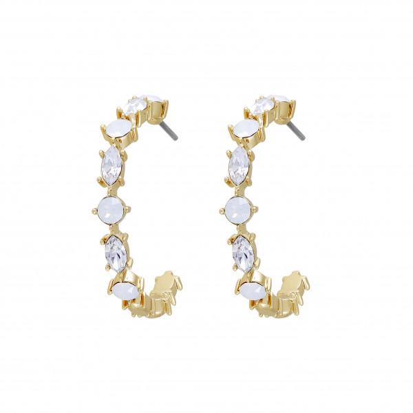 Vergoldete Kreolen Crystal & White Opal