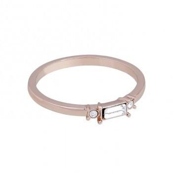 Ring mit 3 Kristallen, rosé vergoldet