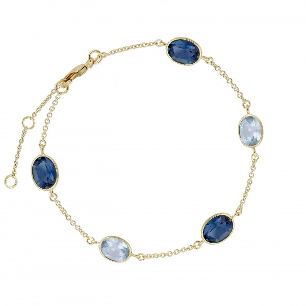Armband Dunkel Hellblau Steine