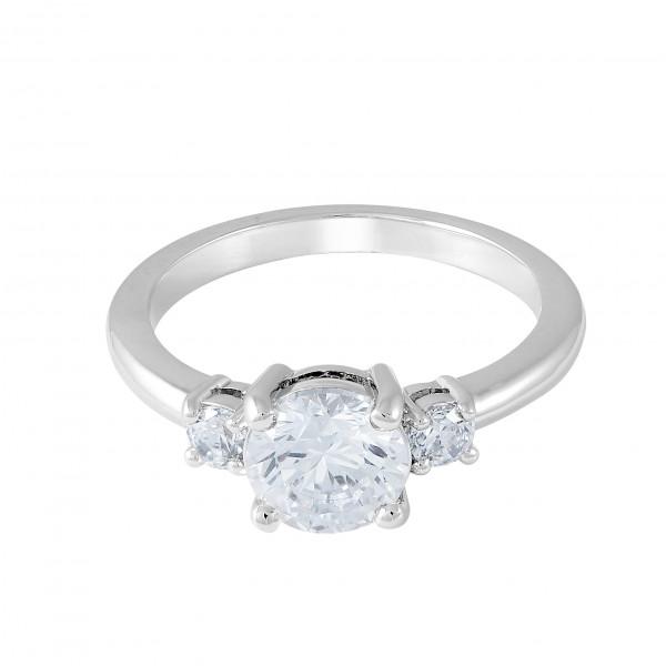 Kristall Ring, rhodiniert