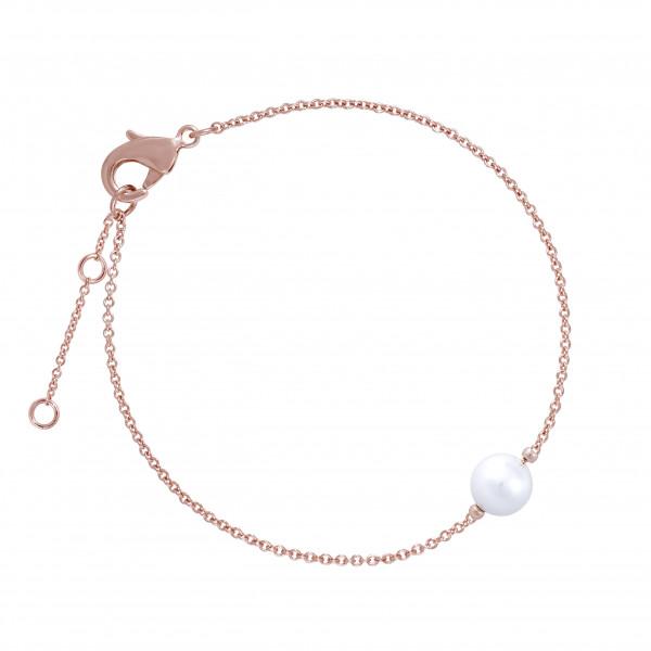 Armkette mit Perle, rosé vergoldet