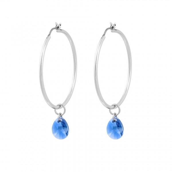 Kreolen blauem Swarovski® Stein