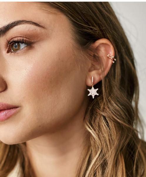 Stern-Ohrringe rhodiniert