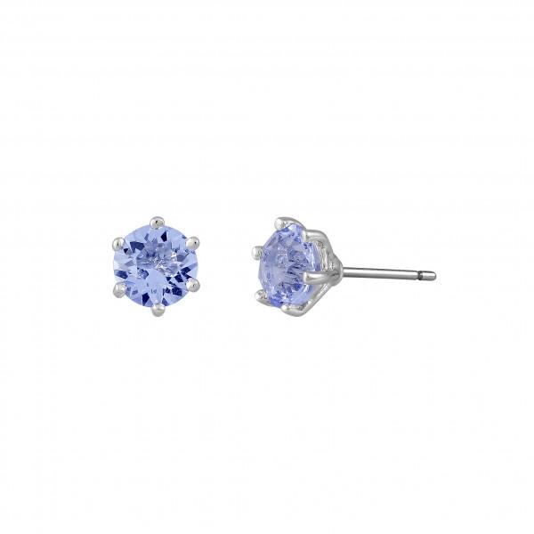 Ohrstecker blaue Kristalle, rhodiniert