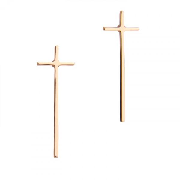 Ohrstecker Kreuz rosé vergoldet