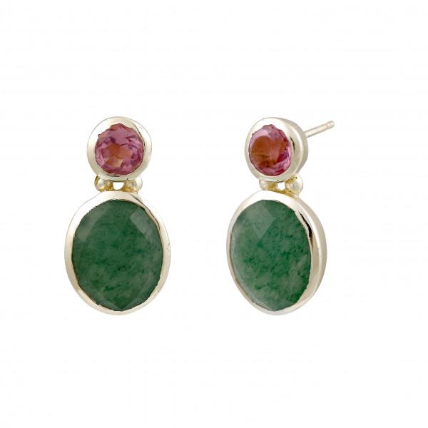 Ohrstecker mit 2 Steinen (Pink/Grün)